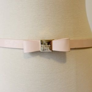 Kate Spade Pink Patent Leather Bow Plaque Belt M